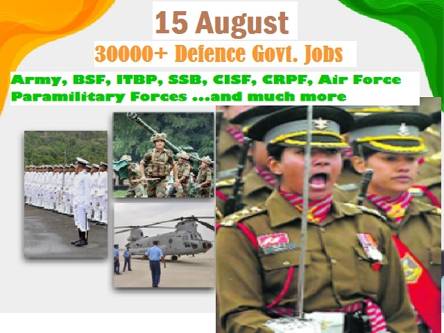 75th Independence Day: Apply for 30000+ Defence Jobs in Army, Air Force , Paramilitary Forces.. Chance for 10th/12th/Graduate